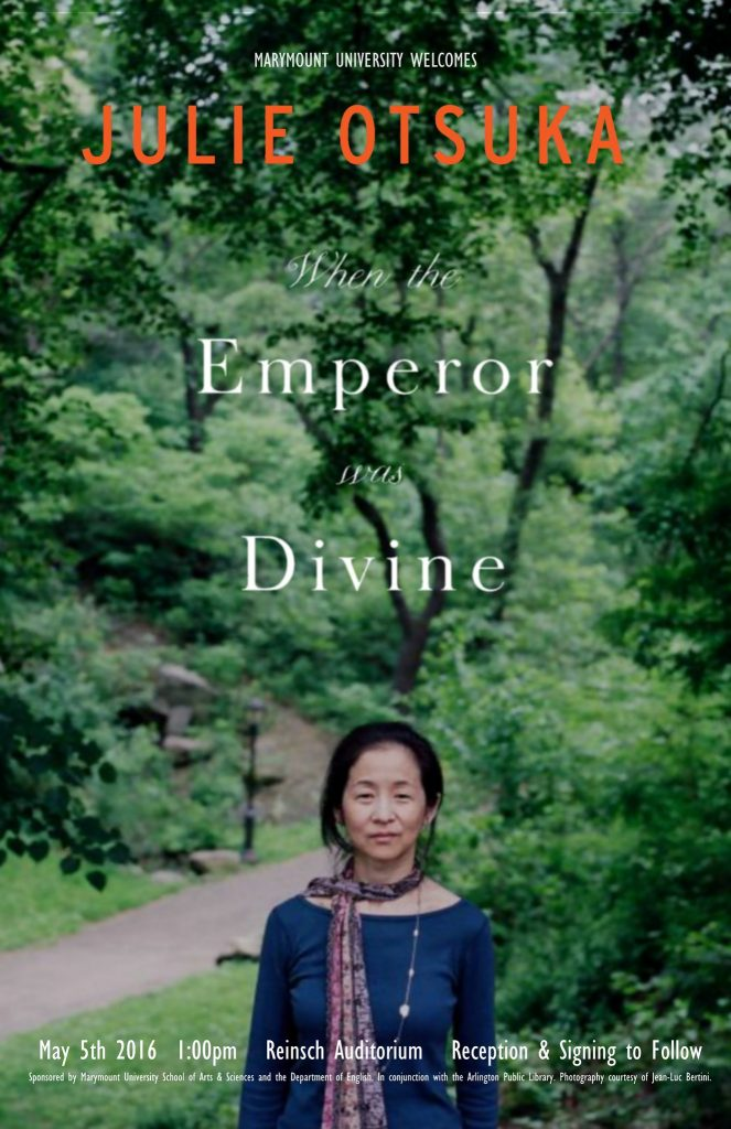 11x17 poster for campus event with author Julie Otsuka