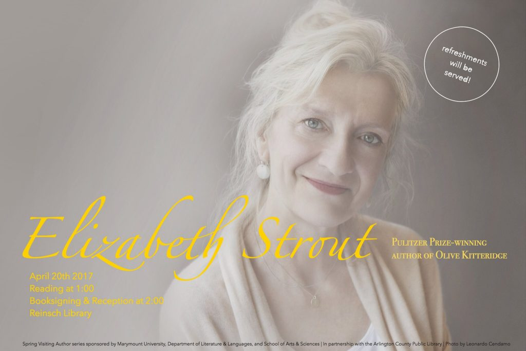 17x11 poster advertising event with Elizabeth Strout