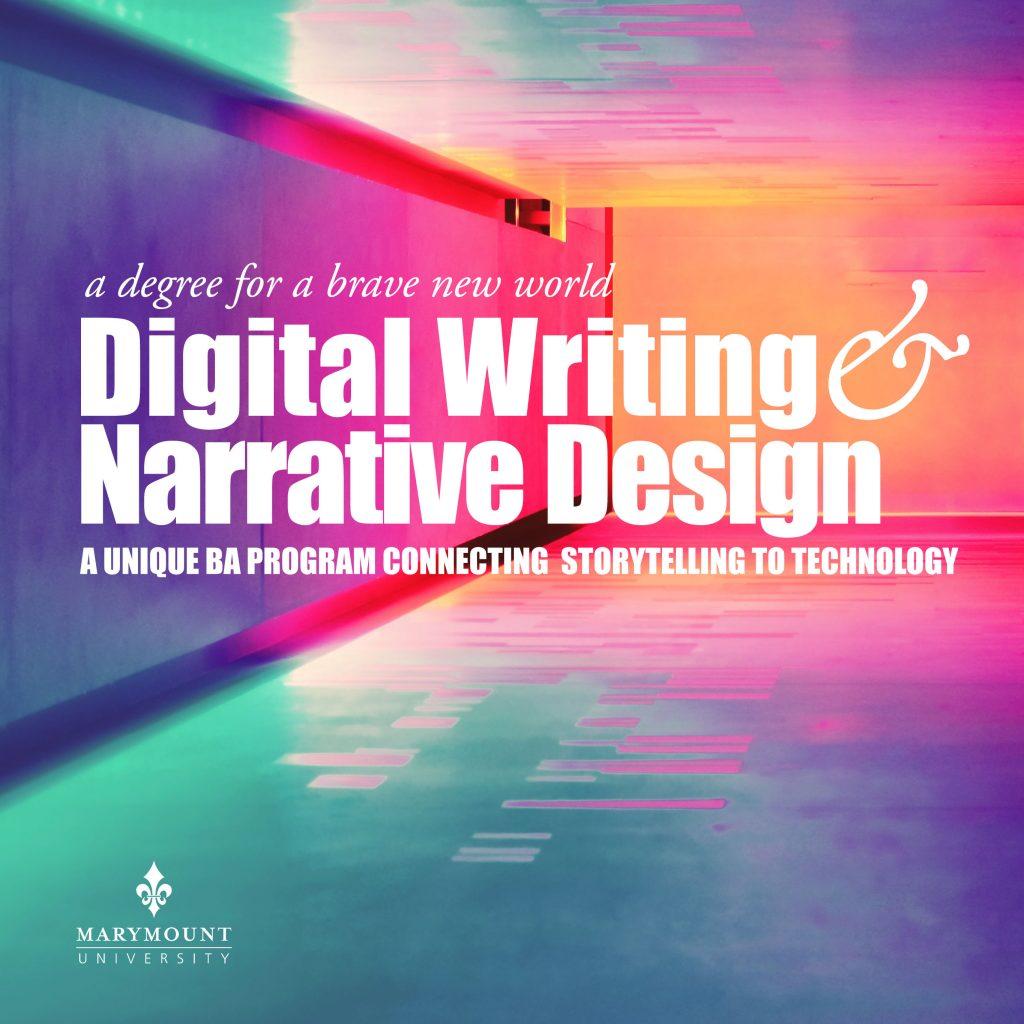 Advertisement (square) for Digital Writing and Narrative Design program
