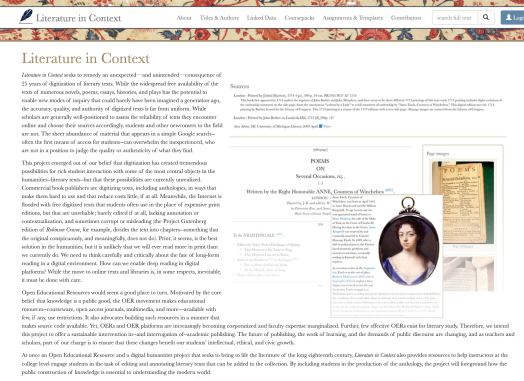 Screen shot of LITERATURE IN CONTEXT: AN OPEN ANTHOLOGY